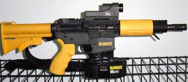 "I couldn't not include this pic of an M16 souped up with nailgun parts that went viral a number of years ago. The ""Dewalt-16,"" as it became known, is just a gag, though, not a real product. (Image via gunsholstersandgear.com)"