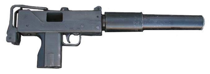 A MAC-10 is a submachine gun that fires either 9mm or .45 caliber ammunition. (Image via Wikipedia)