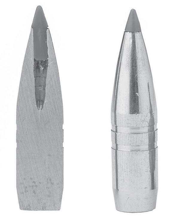 An all-copper monometal bullet from the inside (life) and outside (right). (Gun Digest photo)