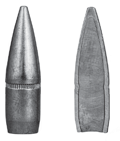 A full metal jacket bullet from the outside (left) and inside (right). (Gun Digest photo)