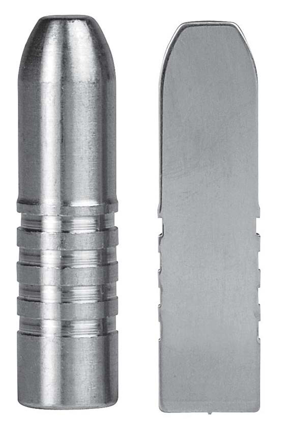 A solid bullet from the outside (left) and inside (right). (Gun Digest photo)